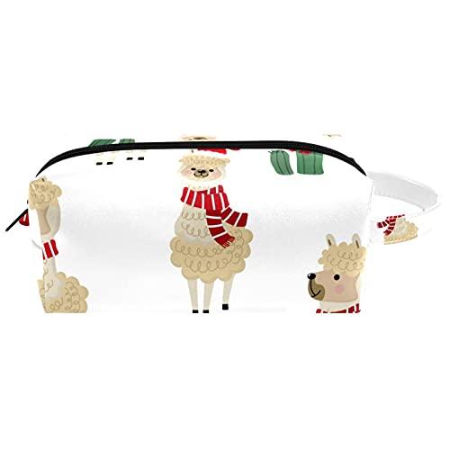 Alpaca de Navidad Cactus Cute Cartoon Llama de Viaje Artículos de tocador Bolsa de Cosméticos para Mujer Cuero de Microfibra Bolsa Organizador Práctico con Cremallera