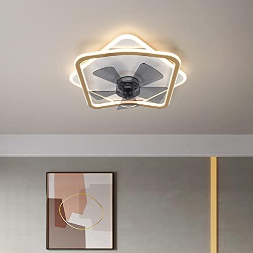 Ventilador De Techo Con Luz Led Y Mando Lampara Ventilador Invisible Lámpara Habitación Plafón Led Regulable Iluminación Interior 3 Velocidades Lámparas Colgantes, Para Dormitorio Salon Cocina