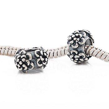 Andante-Stones - Original, Plata Sterling 925 sólida Cuenta, diseño Floreado Vintage, Elemento Bola para Cuentas European Beads + Saco de Organza