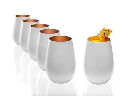 Stölzle Lausitz Becher 465 ml, 6er Set, Wassergläser in weiß (matt) und Bronze, spülmaschinenfest, bleifreies Kristallglas, hochwertige Qualität