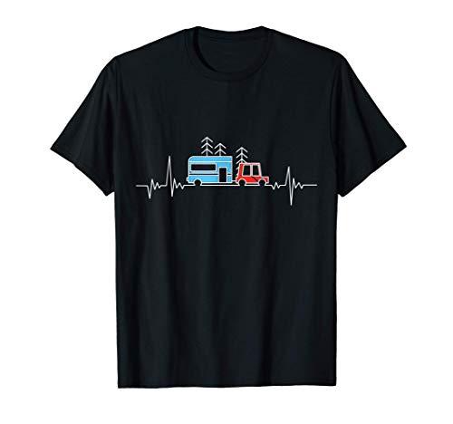 Wohnwagen Camper Heartbeat - Camping Zeltliebhaber Geschenk T-Shirt