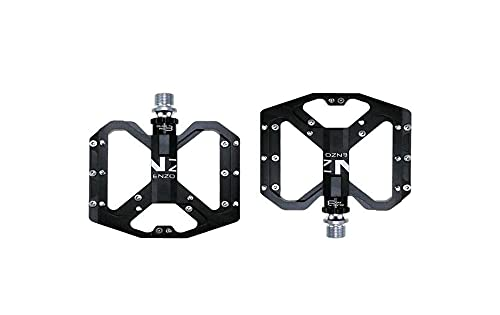QSCTYG Pedales Bicicleta Pedales de Bicicleta Antideslizantes de montaña Plataforma de Bicicletas Pedales de aleación Plana de 9/16'3 rodamientos para Carreteras MTB Fixie Bikes 56 (Color : Black)