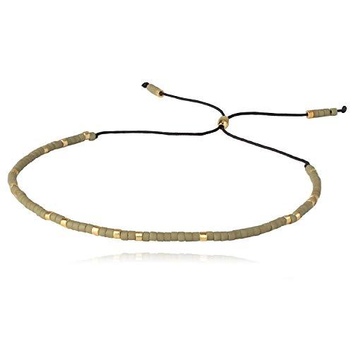 KELITCH Bunte Seed Bead Armbänder Gewebt Bohemian Seil Strang Armbänder Winzigen String Armreifen Für Frauen Mädchen (Grün 1B)