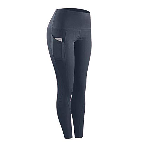 Zilosconcy Pantalones de Yoga con Bolsillos, Ropa de Entrenamiento de Cintura Alta Medias Pantalones de Yoga elásticos Control de Barriga Gimnasio Deportes Running Leggings para Mujeres