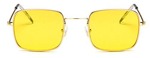 Gafas de sol de cristal cuadrado para mujer con diseño de calavera pequeña HOP HOP, muy adecuadas para correr, montaña, bicicleta, motocicleta, conducción, oro amarillo,