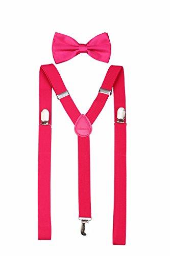 Klassische, feste Hosenträger mit passender Fliege für Herren Gr. Einheitsgröße, hot pink
