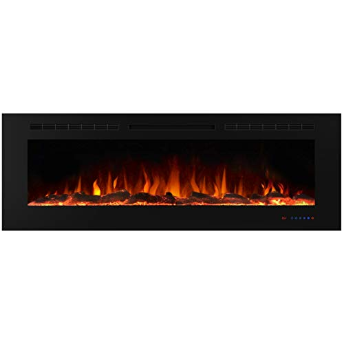 Valuxhome Electric Fireplace, 60 Inches Fireplace, Recessed Fireplaces for Living Room Electric with Remote, Overheating Protection, Logset and Crystal, Touch Screen, 1500W/750W, Black