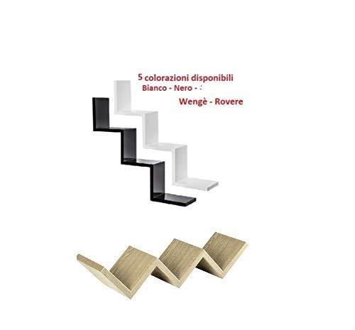 Generico Mensola Moderna a Muro Zig Zag libreria Porta CD Scaffale 4 Colori in Legno