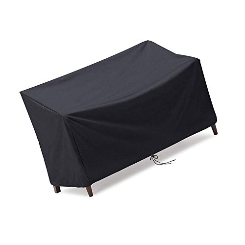Jungda 2/3/4 Seaters Bench Cover Waterproof Anti-UV Garden Rattan Bench Patio Chairs Cover 210D Oxford Fabric Black (4 Seaters: 190x66x89cm)