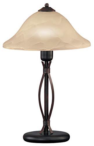 Honsel Leuchten 92271 - Lámpara de mesa, cristal antiguo color alabastro, metal color marrón rojizo
