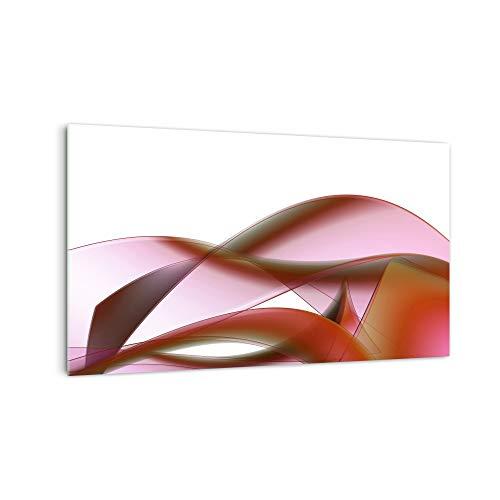 DekoGlas Kitchen Back Wall 'Pink Waves' in Various Sizes, Glass Back Panels, Splash Guard & Tile Mirrors