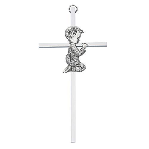 Silver Tone Cross with Praying Boy, 6 Inch