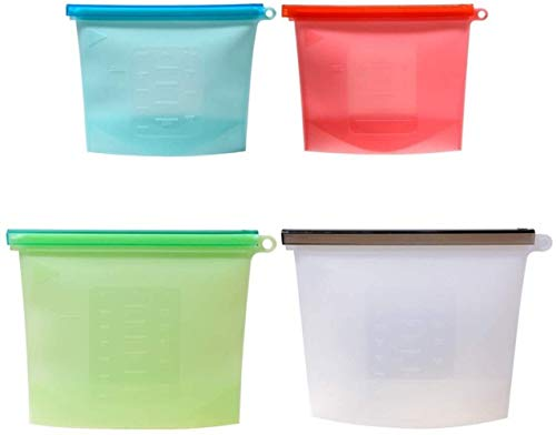 TRYSHA Bolsas Eco-friendly de silicona reutilizable almacenamiento de alimentos, Uotyle BPA del cierre hermético de preservación Bolsas a prueba de fugas de contenedor de cocina Set de Frutas Verduras