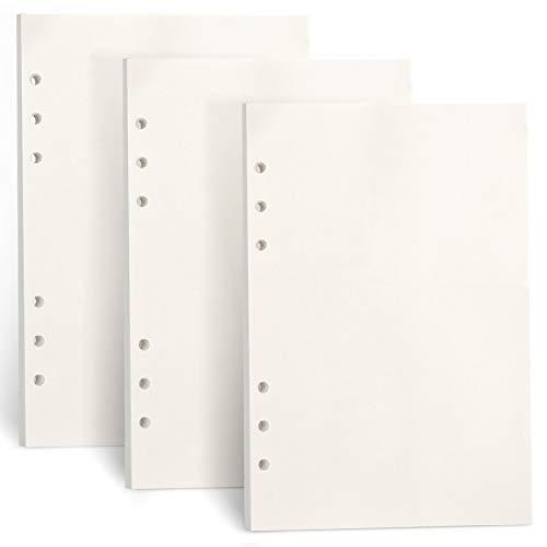 FYY 3 Packungen A5 Papier Blanko,A5 Refill Paper 135 Blätter (270 Seiten) für 6 Ring Binder Notizbuch,Nachfülleinlagen für Filofax A5,Notizen,Tagbuch,Skizze,DIY,Bullet Journal,Malerei,(Blanko)