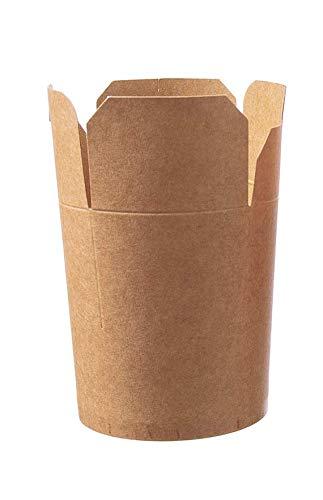 DeinPack Asia Box Take Away Box to Go Box Bio Verpackung Nudeln I Kraftkarton Schachtel Bio Food Box mit Faltdeckel und PLA Innenbeschichtung kompostierbar I 50 Asia Nudelbox Pappe braun 470ml