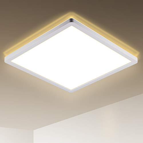 LED Deckenleuchte, 18W Flach Deckenlampe, Quadratisch, Warmweiß, 2700K, 1600LM, IP44 Wasserdicht für Badezimmer, Wohnzimmer, Schlafzimmer, Balkon, Küche, Flur, 295 x 295 x 25 mm