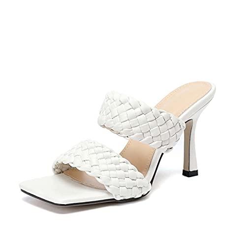 JOEupin Zapatos de tacón medio para mujer, modernos, con puntera abierta, Blanco, 42 EU