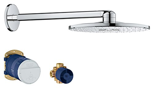 Grohe America, Inc. 26 502 Rainshower 1.75 GPM Multi Function Round Shower Head with Shower Arm - Starlight Chrome