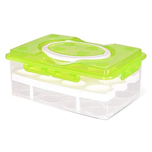 Jiacheng29_ Porta Huevos, Caja De Almacenamiento De Doble Capa, 24 Rejillas, Soporte para Huevos, Organizador Hermético De Gran Capacidad para El Hogar Verde Talla única