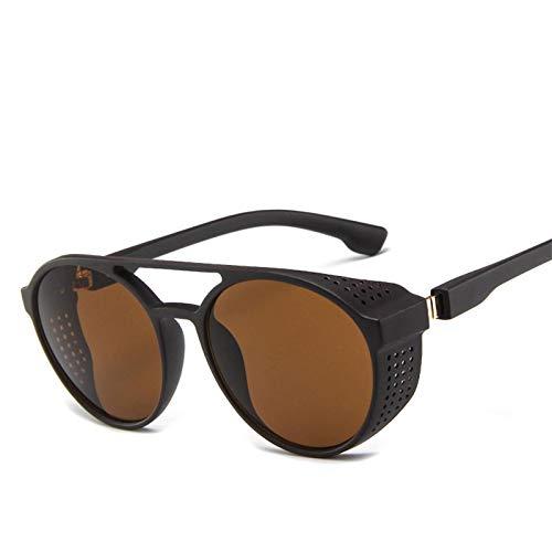 Moda Gafas De Sol Steampunk Redondas Vintage para Hombre, Gafas Clásicas De Diseñador De Marca, Gafas De Sol para Conducción De Coche, Té Uv400 para Hombre