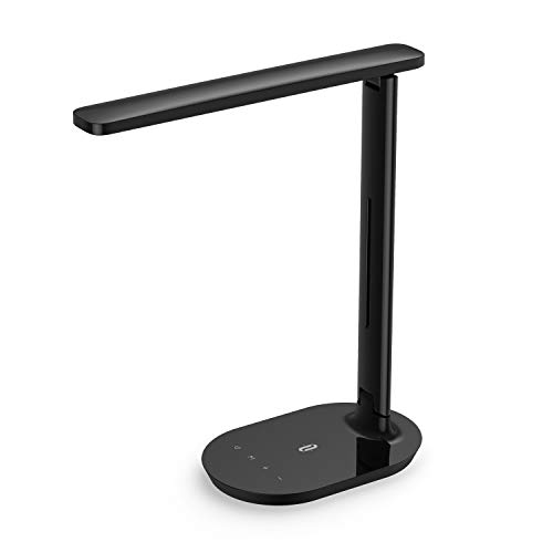 TaoTronics Portable LED Desk Lamp Dimmable Small Desk Lamp with Touch Control 5 Lighting Modes Memory Function for Living Room Office Bedroom Black