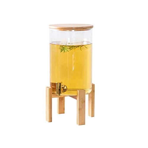Hefacy Dispensador de bebidas de vidrio de 2 galones en soporte de madera con espita de acero inoxidable, jarra de agua de borosilicato sin BPA para zumos calientes/fríos, cervezas, ponches, té helado