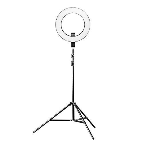 Walimex pro 380 Bi Color Plus - Anillo de luz LED con trípode (38 cm de diámetro, Regulable, 3200-5600 K, Funciona con batería NP-F o Fuente de alimentación, con trípode Estable de 260 cm)