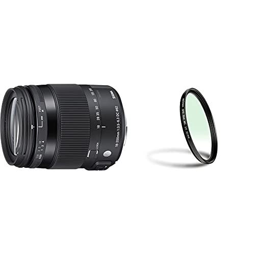Sigma 885 Objetivo para Canon (Distancia focal18-200 mm, Macro, estabilización de Imagen) Negro + Walimex Pro Slim MC Filtro UV (62 mm), Color Negro