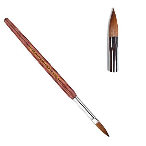 Ealicere #12 Sable Haar Nagelbürste Nagelpinsel für Acrylnägel, Maniküre-Werkzeug Rot Holz Pinsel für UV Gel und Acrylfingernägel Nailart Maniküre Nagelzubehör