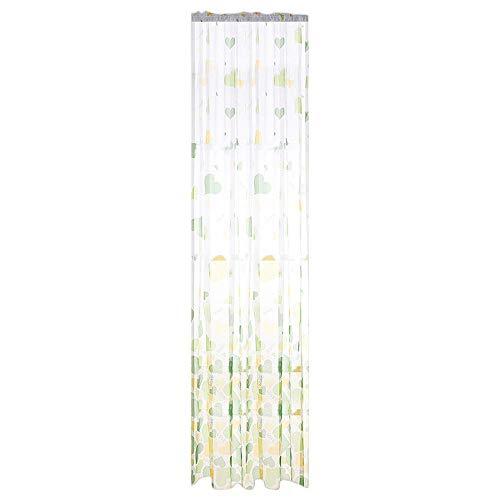 Xmiral Türvorhang Tüll Gardine 100x200cm Gradient Color Herz Gedruckte Scheibengardine mit Stangenloch Lichtdurchlässig(Grün)