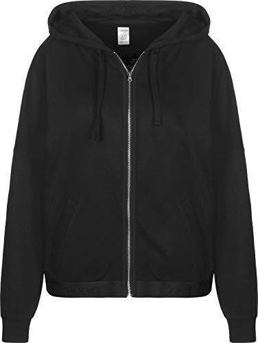 Calvin Klein Damen Full Zip Hoodie Sweatshirt, Schwarz (Black 001), 34 (Herstellergröße: XS)