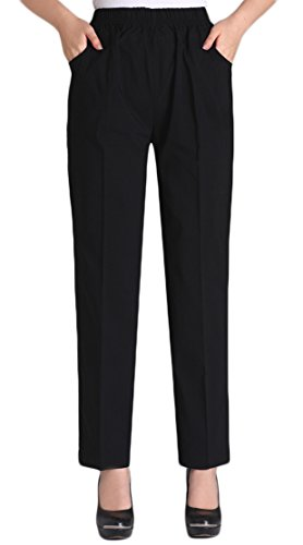 Soojun Womens Summer Elastic Waist Comfy Stretch Pull On Pants, Black, X-Large