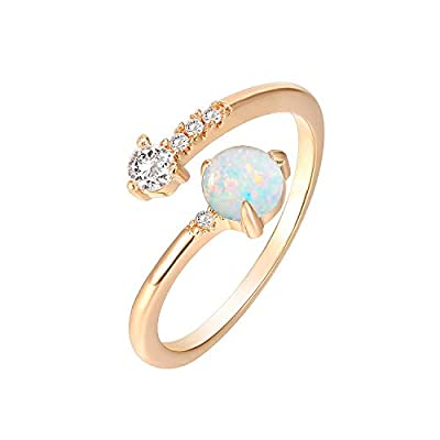 PAVOI 14K Rose Gold Plated Adjustable Created White Opal Rings   Stacking Rings   Gold Rings for Women