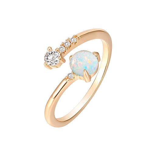 PAVOI 14K Rose Gold Plated Adjustable Created White Opal Rings | Stacking Rings | Gold Rings for Women