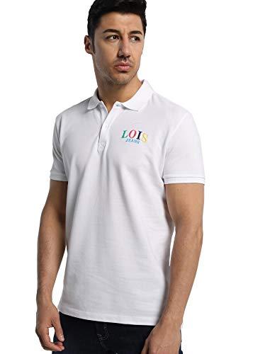 LOIS JEANS - Polo de Cuello Pique con Estampado en la Espalda para Hombre   De Algodón   Tallaje en Pulgadas   Talla Inch