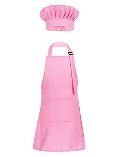 Yeahdor Kinder Kochkleidung Kochkostüm Koch Schürze Set Bäker Maler Schürze mit Kochmütze Chefmütze Küche Zubehör Set Rosa S