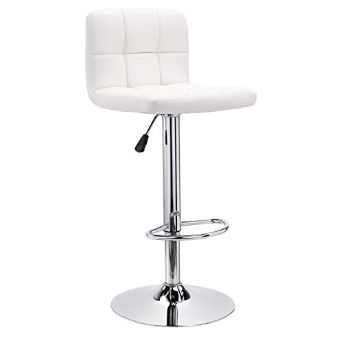 JC Home Roundhill Swivel PU Leather Adjustable Hydraulic Bar Stool White