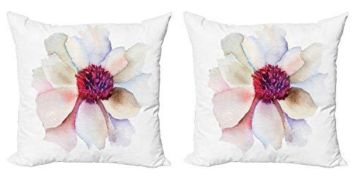 ABAKUHAUS Acuarela Set de 2 Fundas para Cojín, Arte Flor de la Flor, con Estampado en Ambos Lados con Cremallera, 60 cm x 60 cm, Fucsia Crema