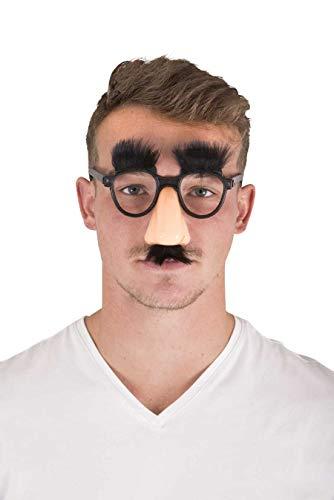 P'tit Clown Brille, Griesgram, Nase, Schnurrbart und Augenbrauen aus Plüsch, Schwarz, 40603