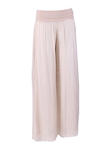 LushStyleUK Italienische Seidenhose für Damen, elastischer Bund, Übergrößen (beige)
