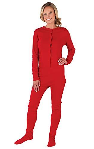 PajamaGram Drop Seat Pajamas Women - Butt Flap Pajamas Womens, Red, L, 12-14