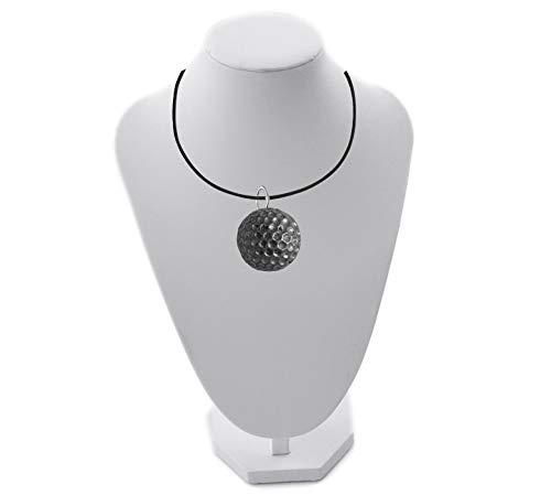 Halskette mit Golfball-Anhänger, englisches Zinn, handgefertigt, 41 cm, PP-SP06