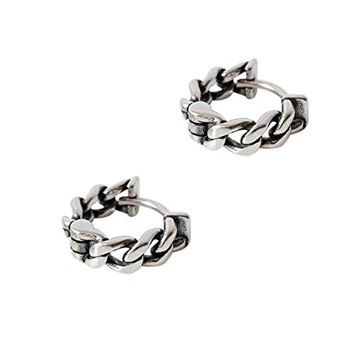 Vintage Oxidized Cable Chain Hoop Earrings for Women Girls Men S925 Sterling Silver Thick Wide Tribal Curb Chain Weave Wrap Huggie Hinged Hoop Cartilage Earrings Personalized Fashion Unisex (14mm)