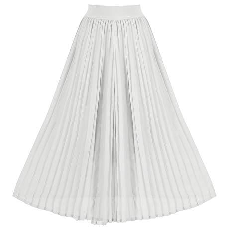 Howriis Women's Summer Chiffon Pleated A-line Midi Skirt Dress (Small, White)