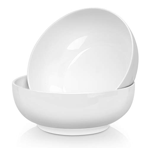 2.5 Quarts Porcelain Serving Bowls - 2 Pack, White, Stackable