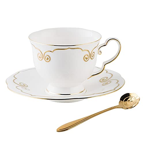 Latte Art Cup European Style Simple Stacking Coffee Cup and Saucers Combo 7oz/200ml,High Grade Bone china - Stylish Milk and Afternoon Tea Cup with Spoon for Office and Home,White Coffeezone