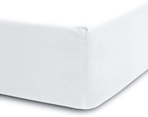Lumaland Luxury Jersey Spannbettlaken für Wasserbett und Boxspringbett 100 % Baumwolle mit Rundum-Gummizug 180-200 x 200-220 cm Weiß