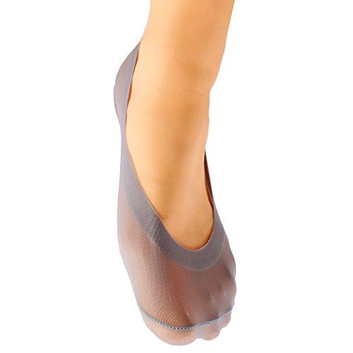 Generic Frauen No Show Ped Low Cut Socken Deep Beige Invisible Socks rutschfeste Einlage - grau, one Size