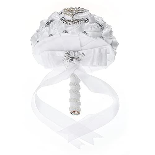 Sunshin 21cm Spilla da Sposa Fatta a Mano con Strass Bouquet da Sposa Fiore Rosa in Raso con Perle Artificiali Decorato per Forniture Nuziali da Sposa