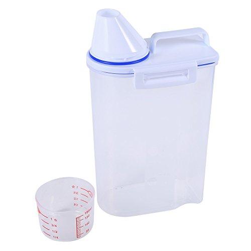 Fdit Contenitore Cibo per Animali Domestici Cane Gatto Contenitori Set Dry Food Dispenser Easy pour con Coppa Pet Supplies